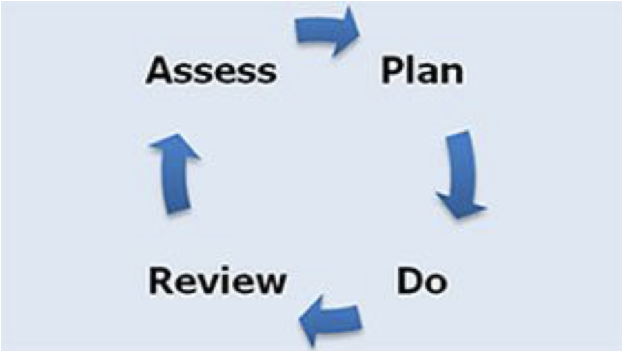 Diagram showing Plan, Do, Review and Assess cycle