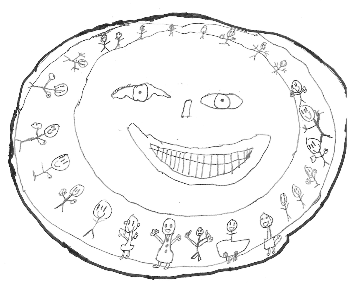 Childs drawing with colourful text Luton Send Information and circles with stick men